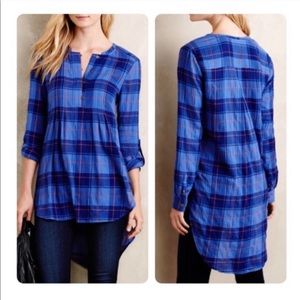 Anthropologie holding horses blue plaid tunic top